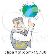 Man Looking Outwards While Spinning The Earth Like A Ball On His Finger Clipart Illustration