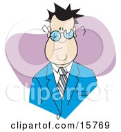 Sad Man Wearing Broken Glasses Clipart Illustration