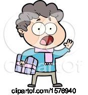 Cartoon Man Gasping In Surprise