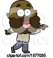 Cartoon Crazy Happy Man With Beard