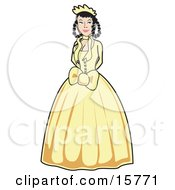 Beautiful Black Haired Woman With Her Hair In Braids Wearing A Yellow Victorian Gown Clipart Illustration