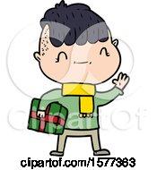 Cartoon Friendly Boy With Christmas Present
