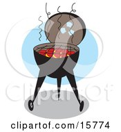 Hot Coals Ready For Cooking In A Charcoal Bbq Grill Clipart Illustration
