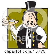 Punctual Train Conductor Or Showman Holding A Pocket Watch In His Hand Clipart Illustration