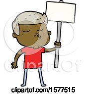 Cartoon Model Guy Pouting With Sign