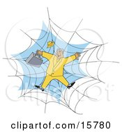 Businessman In A Yellow Suit Stuck In A Spider Web Clipart Illustration