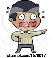Cartoon Stressed Out Pointing