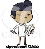 Cartoon Cool Guy With Fashion Hair Cut And Clip Board