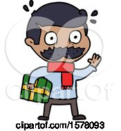 Cartoon Man With Mustache And Christmas Present