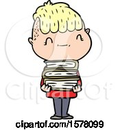 Cartoon Friendly Boy With Books