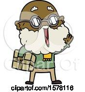 Cartoon Joyful Man With Beard And Parcel Under Arm