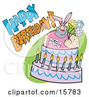 Big Hairy Man In A Bunny Suit Holding Flowers And Popping Out Of A Birthday Cake Clipart Illustration
