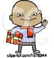 Cartoon Nervous Man With Xmas Present