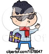 Cartoon Boy Wearing Sunglasses Carrying Xmas Gift