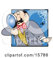 Male Inspector Peering Through A Magnifying Glass As A Spider Drops From A Web Behind Him Clipart Illustration