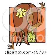 Attractive Female Hula Dancer With A Flower In Her Hair Clipart Illustration
