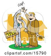 Couple Of Male Real Estate Agents Giving Eachother A High Five After Selling A House Clipart Illustration