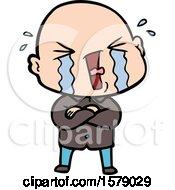 Cartoon Crying Bald Man