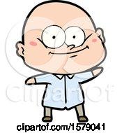 Cartoon Bald Man Staring