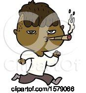 Cartoon Man Smoking Whilst Running