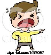 Cartoon Shouting Man Pointing Finger