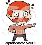 Cartoon Man With Mustache Shocked