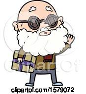 Cartoon Curious Man With Beard Sunglasses And Present