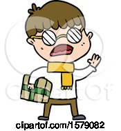 Cartoon Boy Holding Gift And Wearing Spectacles