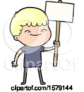 Cartoon Smiling Boy With Placard