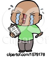 Cartoon Crying Man With Clipboard