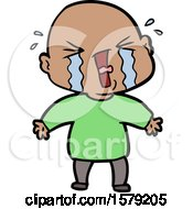Cartoon Crying Bald Man