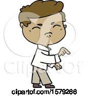 Cartoon Annoyed Man Pointing Finger