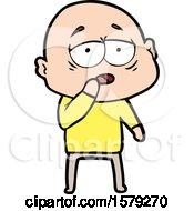 Cartoon Tired Bald Man