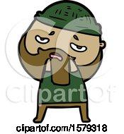 Cartoon Worried Man With Beard