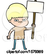 Angry Cartoon Boy Protesting