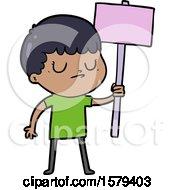 Cartoon Grumpy Boy With Placard