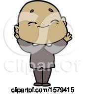 Cartoon Happy Bald Man