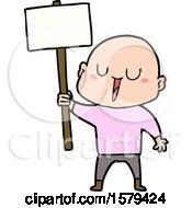 Happy Cartoon Bald Man With Sign