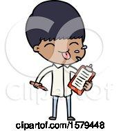 Cartoon Salesman Sticking Out Tongue