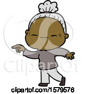 Cartoon Peaceful Old Woman