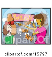 Woman Laughing At Another Woman Who Got A Bad Hairstyle In A Salon Clipart Illustration