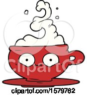 Poster, Art Print Of Cartoon Hot Cup Of Coffee