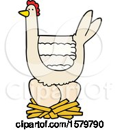 Poster, Art Print Of Cartoon Chicken Sitting On Eggs In Nest