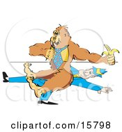 Gorilla Wearing A Tie And Eating A Banana While Sitting On A Businessman Clipart Illustration by Andy Nortnik