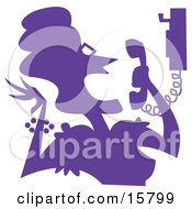 Excited Or Angry Woman Screaming At A Telemarketer Or A Friend On The Phone Clipart Illustration