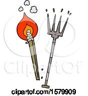 Cartoon Pitchfork And Burning Brand