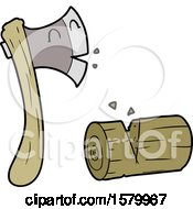 Cartoon Axe Chopping Wood