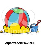 Cartoon Beach Ball And Bucket