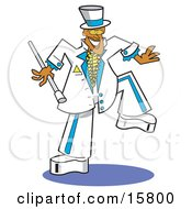 Stylish Groom In A White And Blue Suit Clipart Illustration