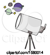 Poster, Art Print Of Cartoon Telescope Looking At Planets
